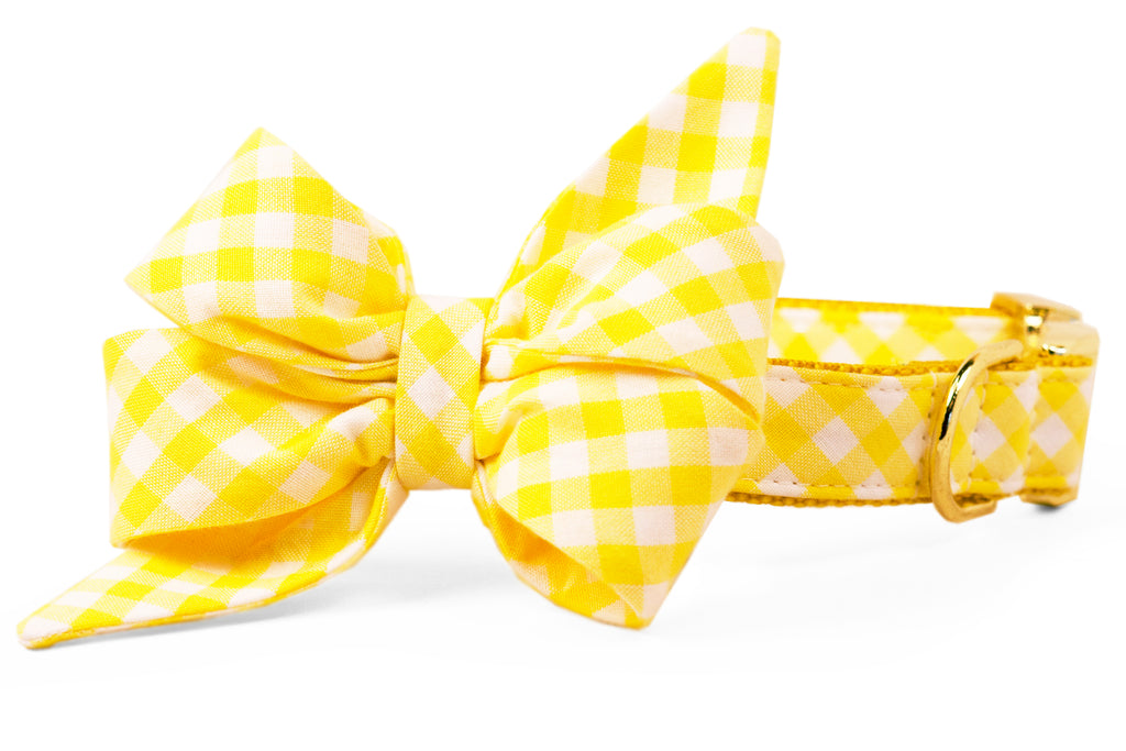 Lemon Picnic Plaid Belle Bow™ Dog Collar