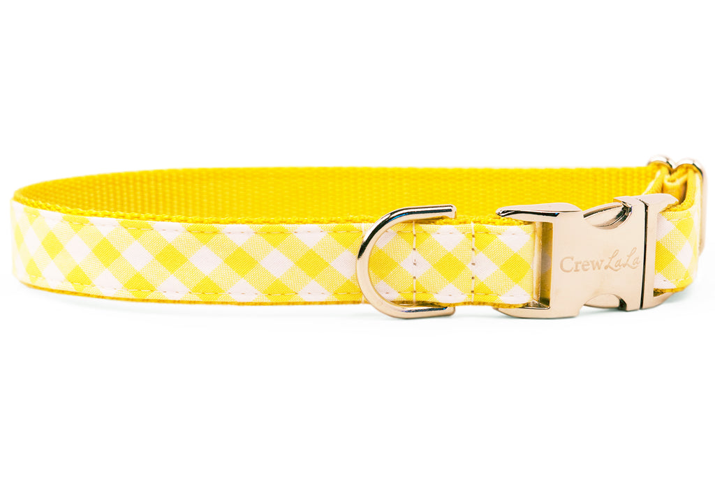 Lemon Picnic Plaid Dog Collar