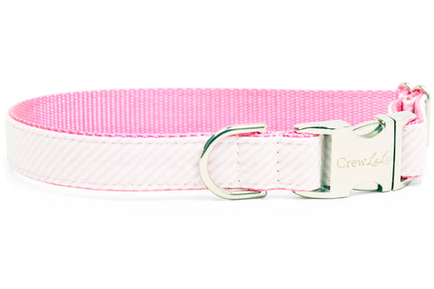Light Pink Seersucker Dog Collar