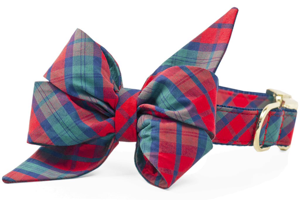 Luke's Plaid Belle Bow Dog Collar