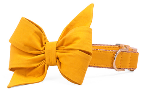 Mustard Belle Bow Dog Collar
