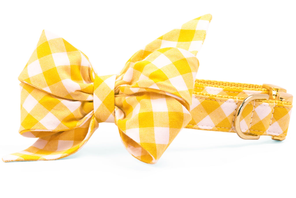 Mustard Check Belle Bow™ Dog Collar