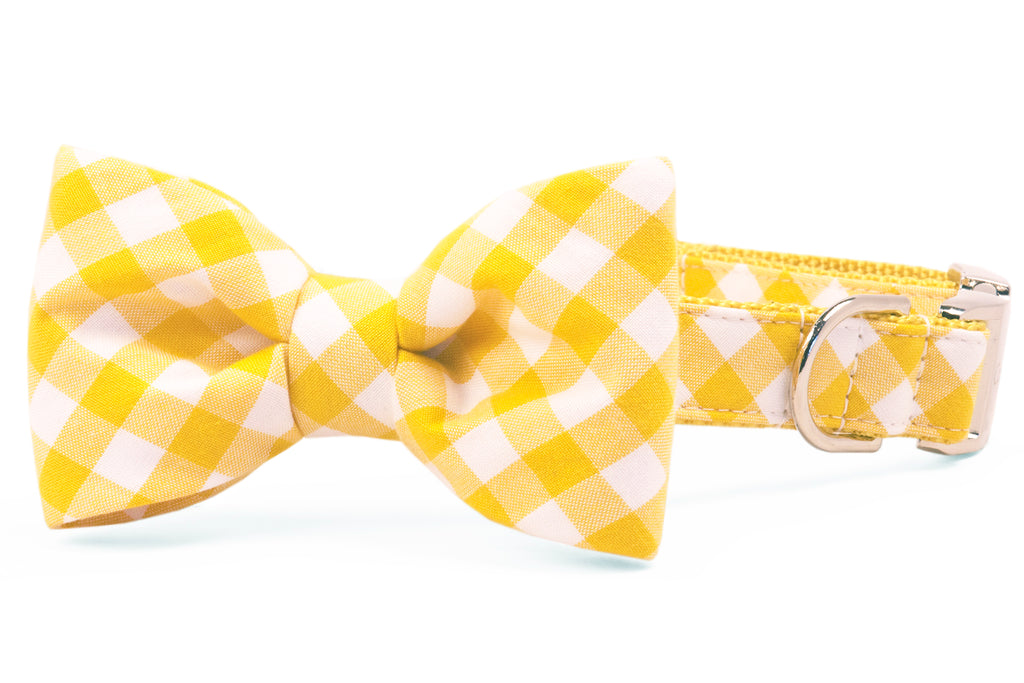 Mustard Check Bow Tie Dog Collar