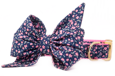 Navy Canterbury Belle Bow Dog Collar