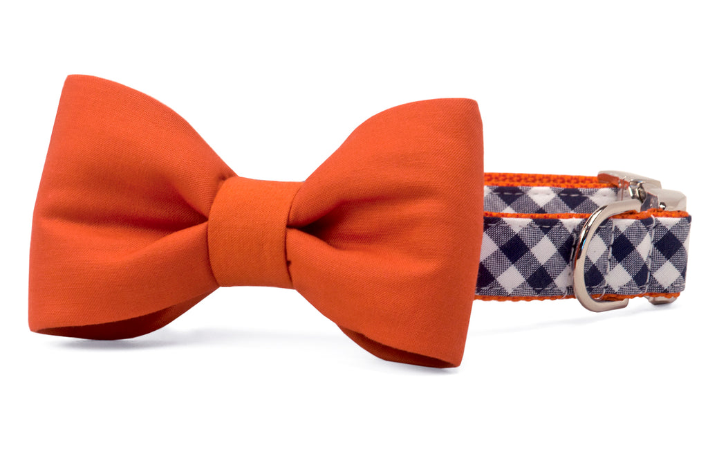 Auburn Burnt Orange on Navy Check Bow Tie Dog Collar