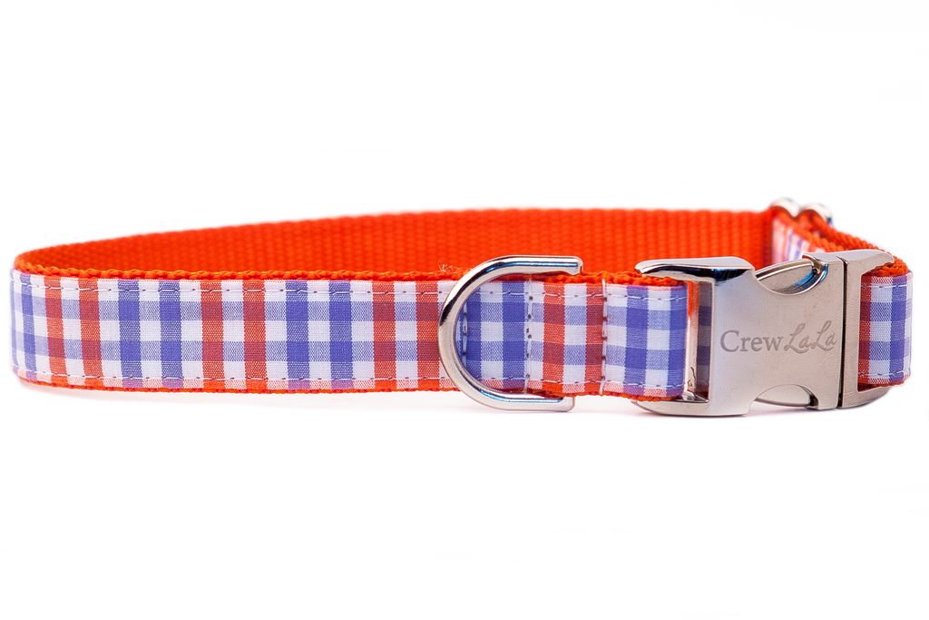Orange & Lavender Gingham Dog Collar
