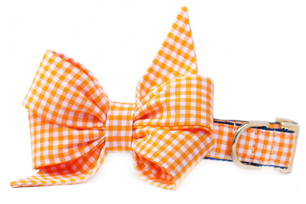 Orange Gingham Belle Bow™ Dog Collar- Two Styles
