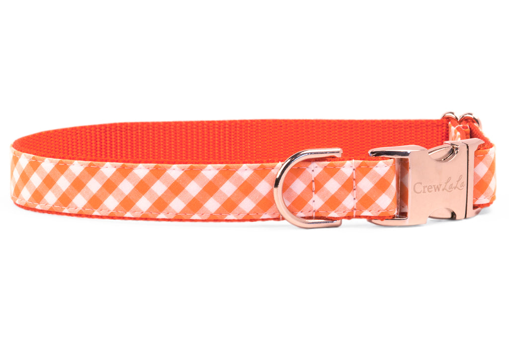 Orange Picnic Plaid Dog Collar