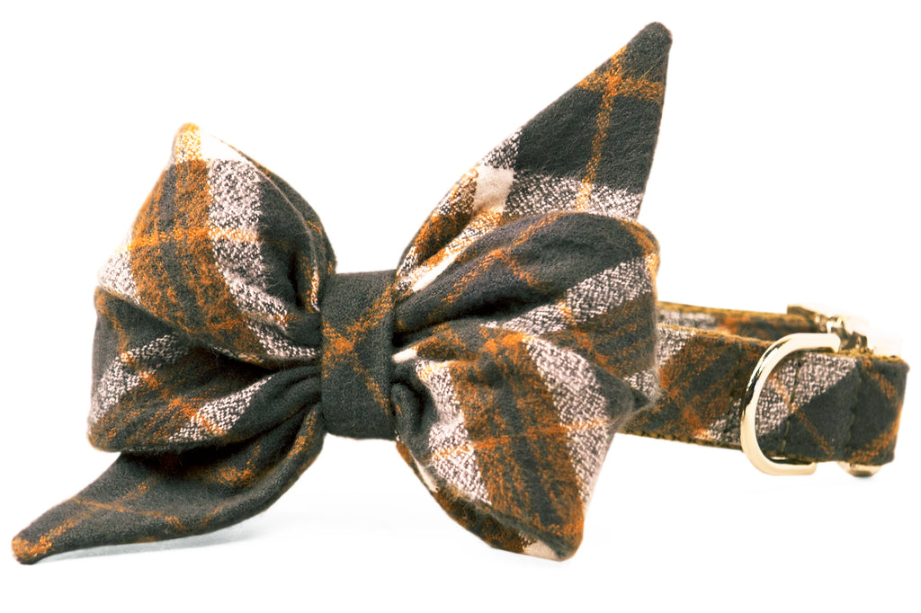 Pepper's Plaid Flannel Belle Bow Dog Collar