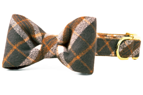 Pepper's Plaid Flannel Bow Tie Dog Collar