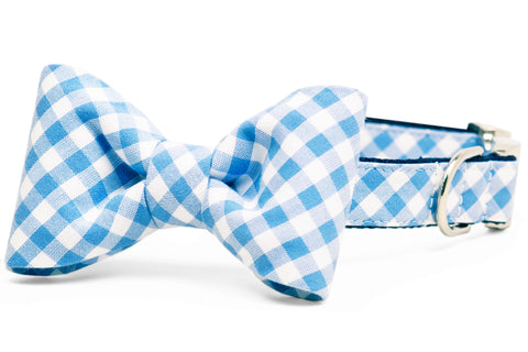 Periwinkle Picnic Plaid Bow Tie Dog Collar