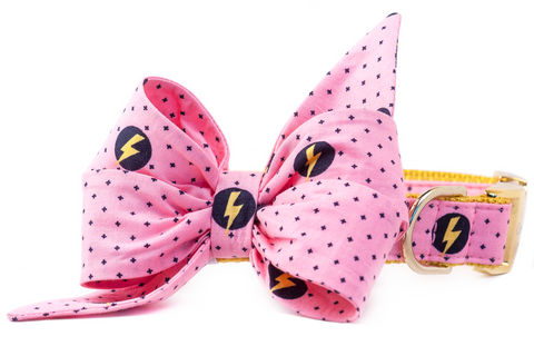 Pink Superhero Belle Bow Dog Collar