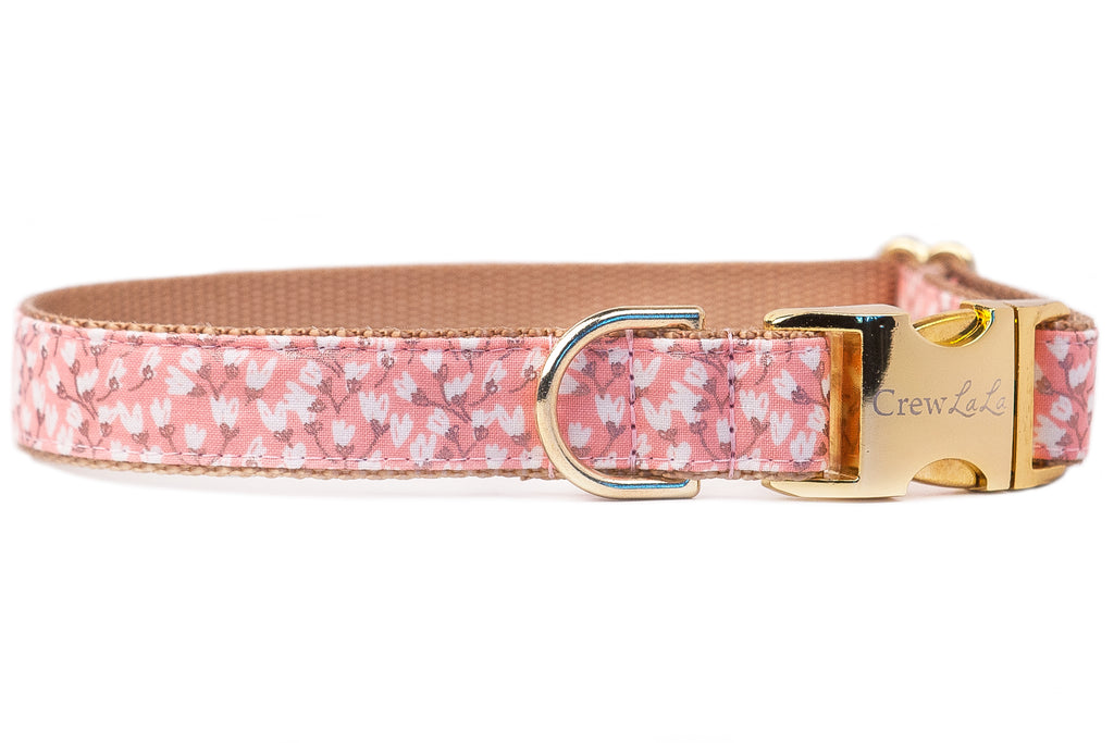 Pink Tulips Dog Collar