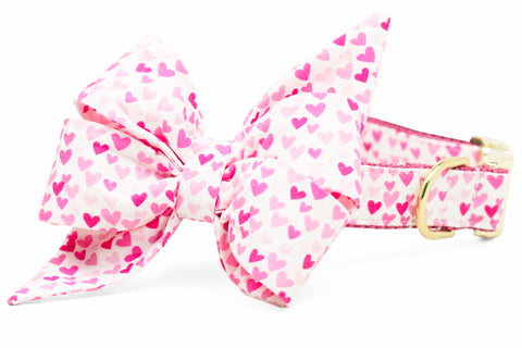 Pink Hearts Belle Bow Dog Collar