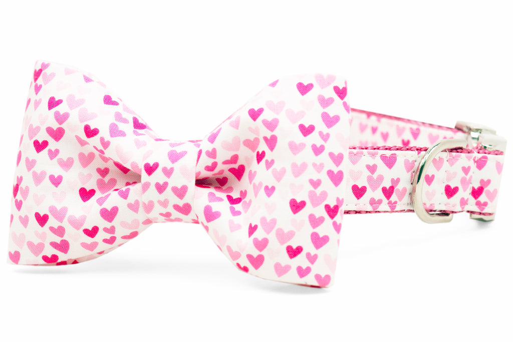 Pink Hearts Bow Tie Dog Collar