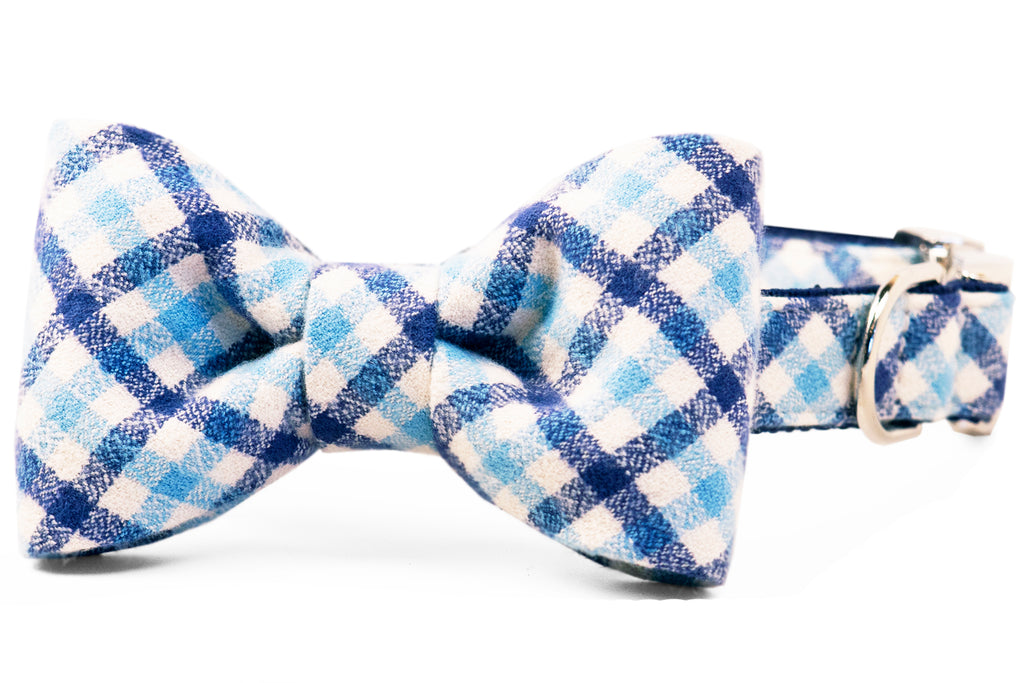 Ralph Flannel Bow Tie Dog Collar
