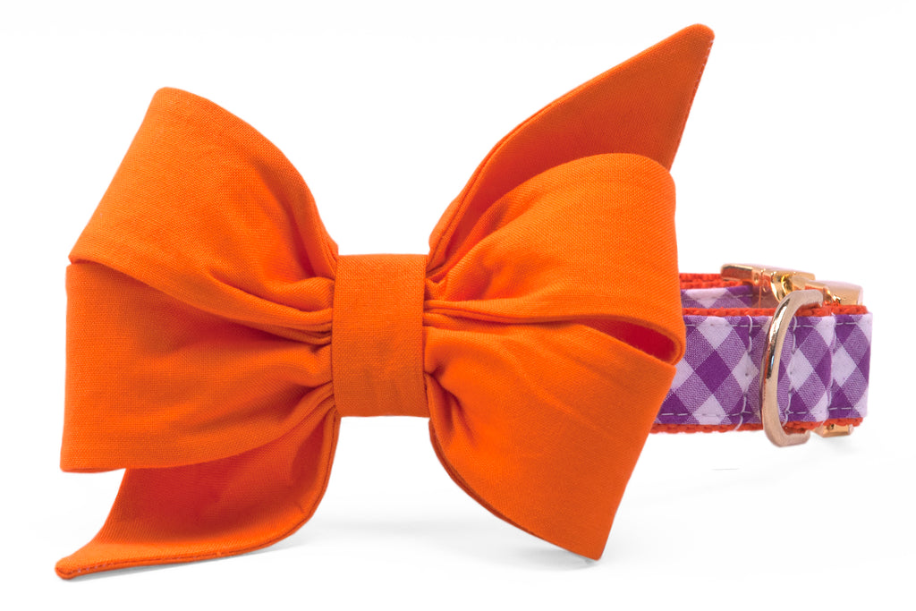 Clemson Orange on Purple Check Belle Bow Dog Collar