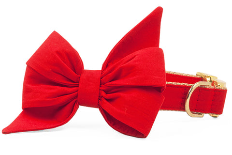Scarlet Red Belle Bow Dog Collar