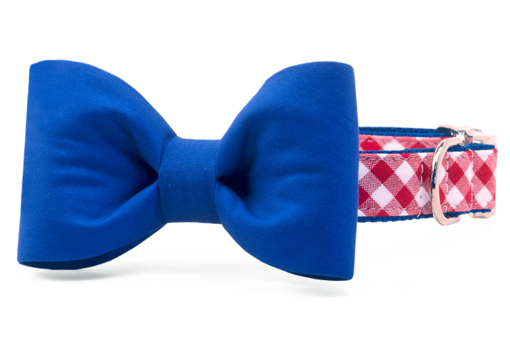 Bills Royal Blue on Red Check Bow Tie Dog Collar