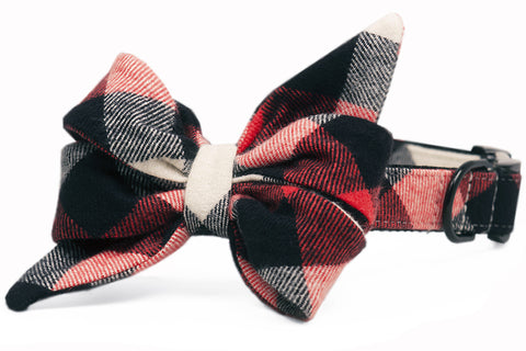 Red, White & Black Buffalo Flannel Plaid Belle Bow Dog Collar