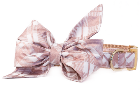 Plaid Rose Gold Belle Bow Dog Collar