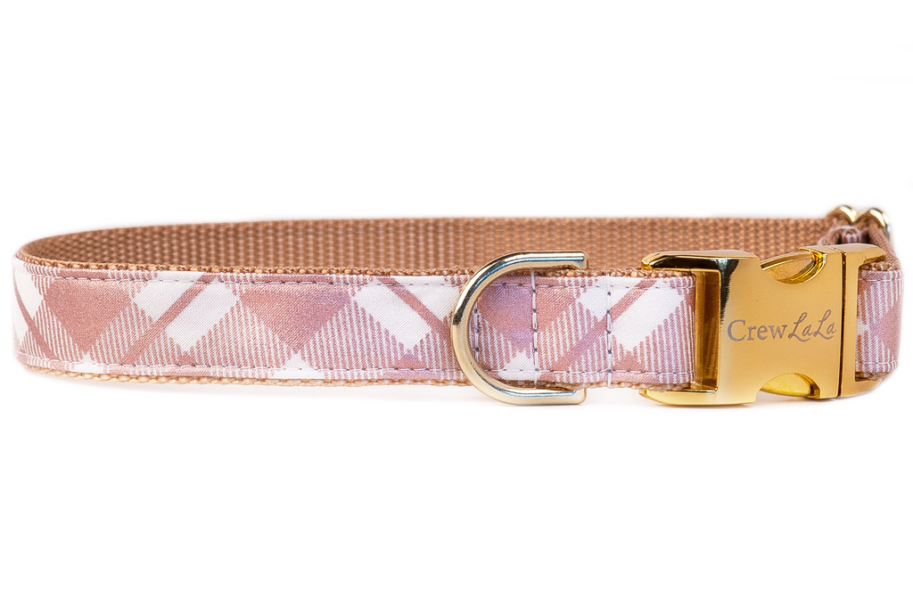 Plaid Rose Gold Dog Collar