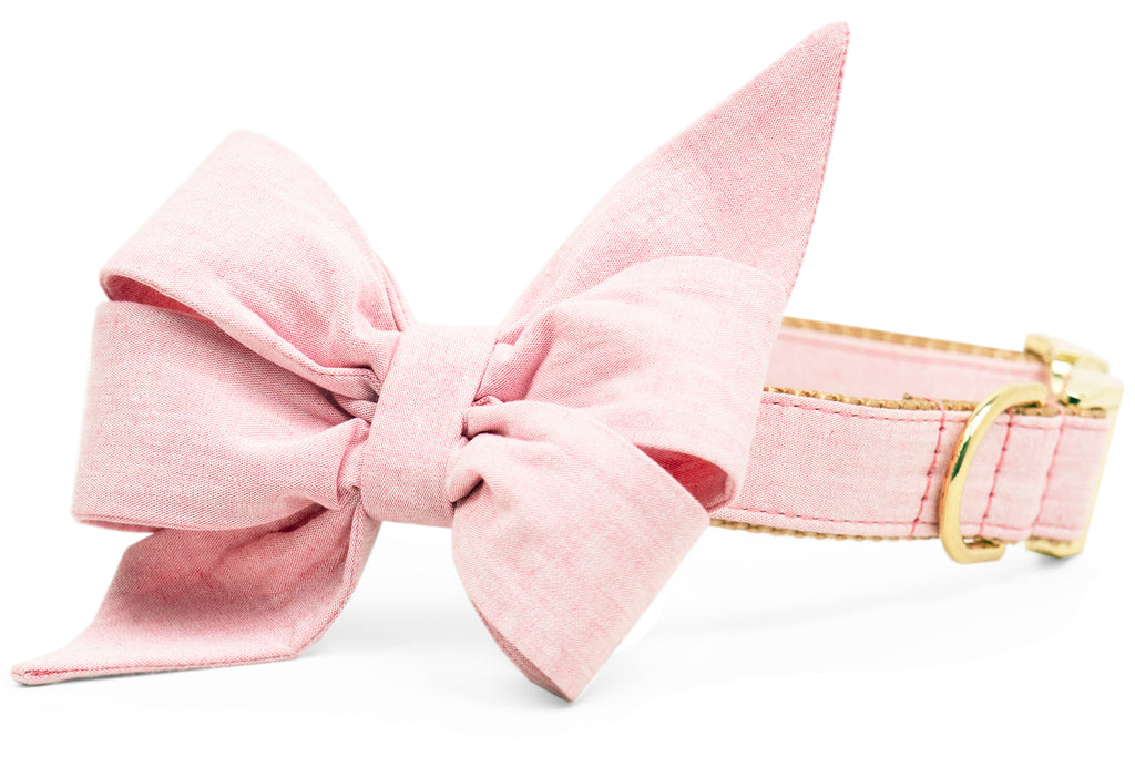 Rose Water Linen Belle Bow™ Dog Collar