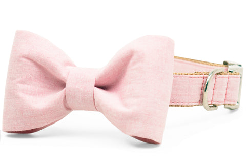 Rose Water Linen Bow Tie Dog Collar