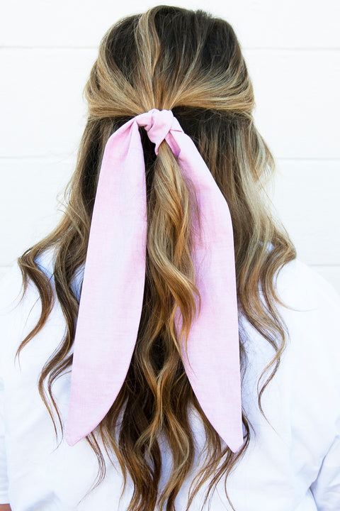 Rose Water Linen Hair Tie