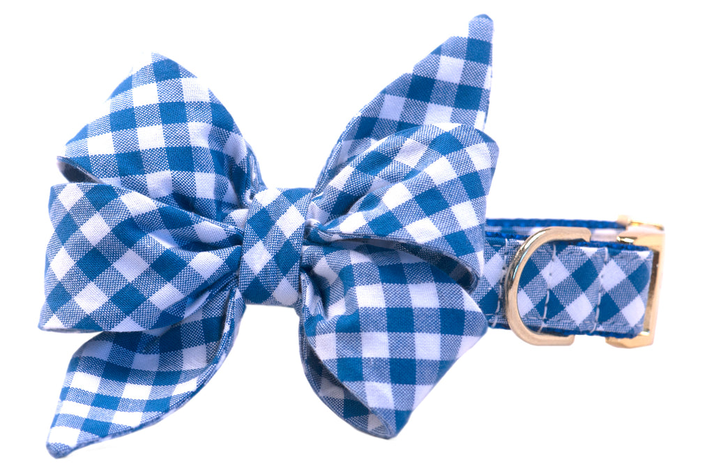 Royal Blue Picnic Plaid Belle Bow™ Dog Collar