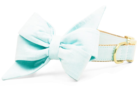 Aqua Linen Belle Bow Dog Collar
