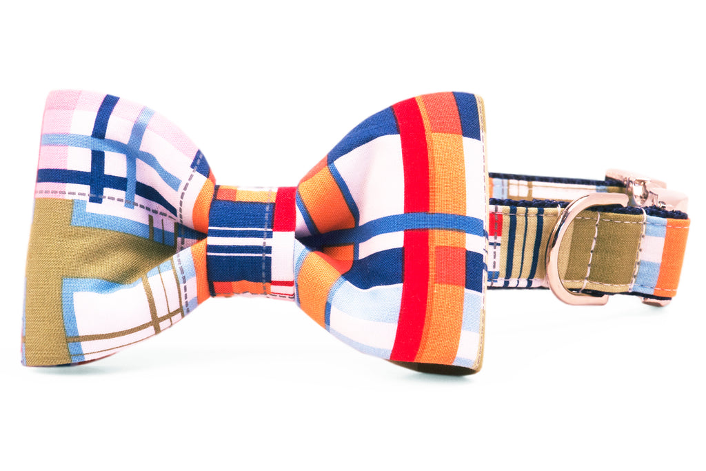 Seaside Madras Bow Tie Dog Collar