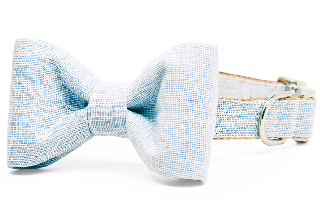 Sky Blue Linen Bow Tie Dog Collar
