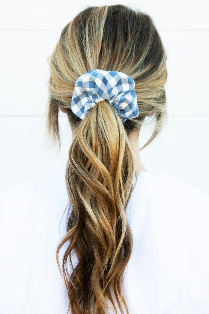 Slate Check Scrunchie