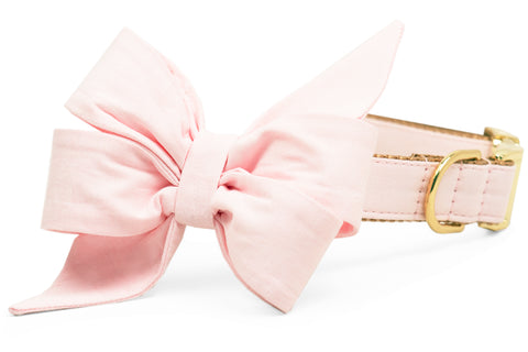 Soft Pink Linen Belle Bow Dog Collar