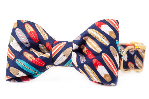 Surf's Up Bow Tie Dog Collar