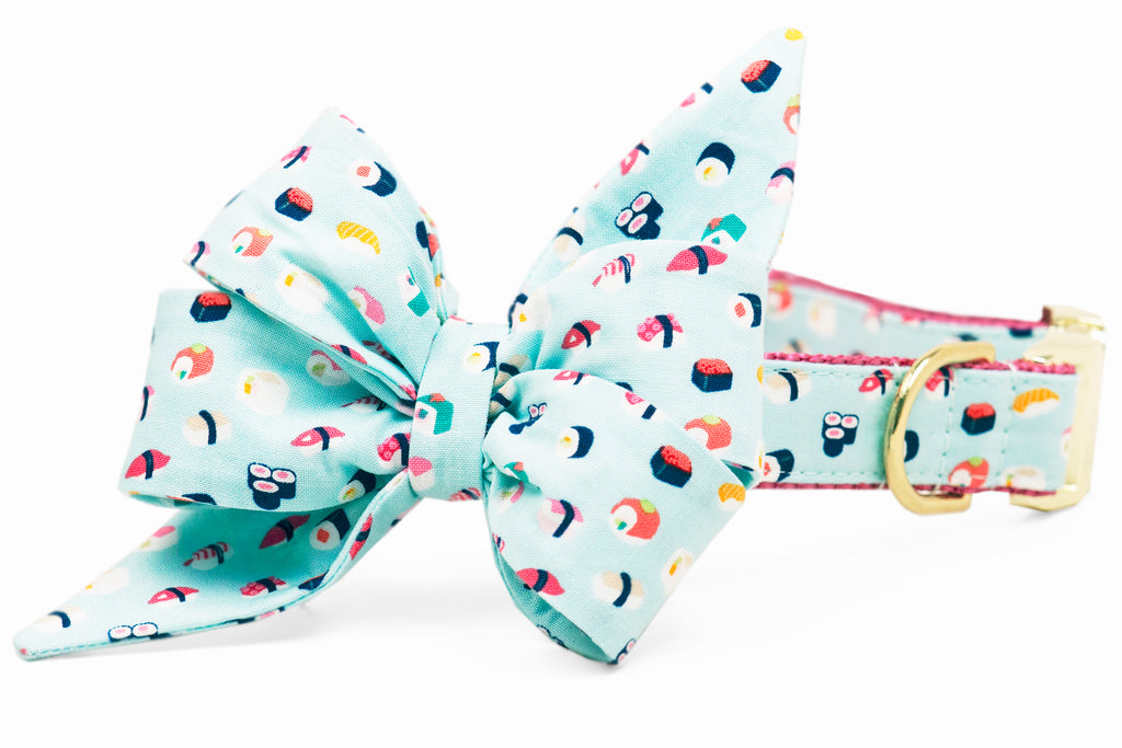 Sushi Delight Belle Bow Dog Collar