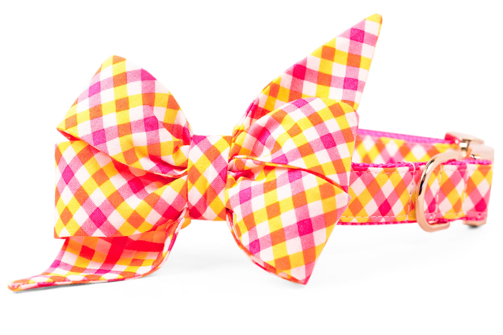 SALE BELLE BOW COLLAR - Sweet Tart Plaid