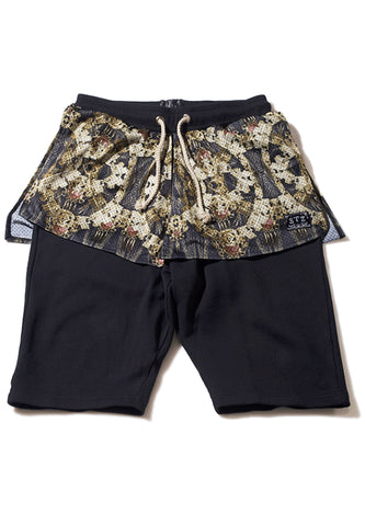Golden Chain Patches Sweat Short Pants