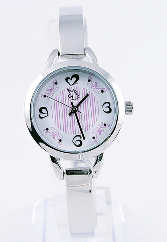 Simple Silver Bracelet Watch - White