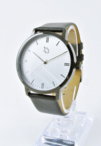 Uni Basic Black Case & Silver Dial With Leather Strap