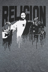 RELIGION - JESUS SELLING MELTING HANDBAGS - GREY TSHIRT