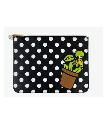 Black polkadot clutch