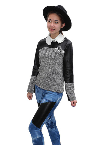 Two tone faux leather tweed top