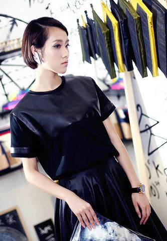 Faux Leather T-Shirt - Black