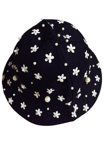 Pearl Flower Printed Bucket -Black