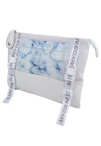 -3D- Mesh + Leather Clutch Bag