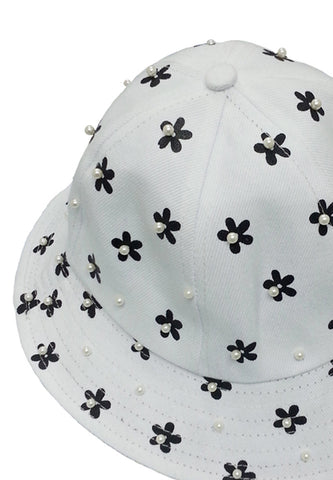 Pearl Flower Printed Bucket -White