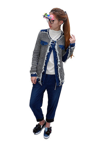 Indigo blue girl tweed jacet