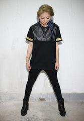 Faux Leather T-Shirt - Gold